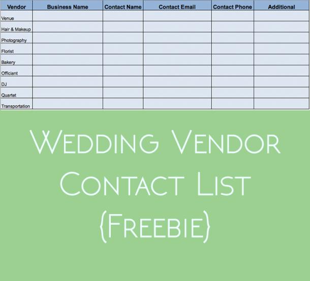wedding vendor contact list freebie the urben life