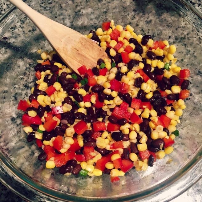 beans-and-veggies-for-sweet-potato-salad