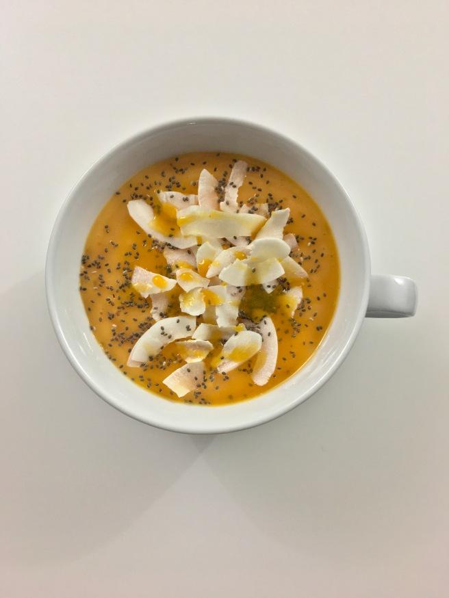 Mango Papaya Smoothie Bowl with Drizzle