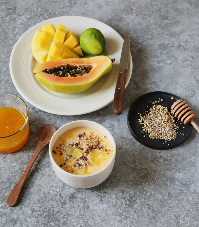 Vegan Mango Papaya Smoothie Bowl