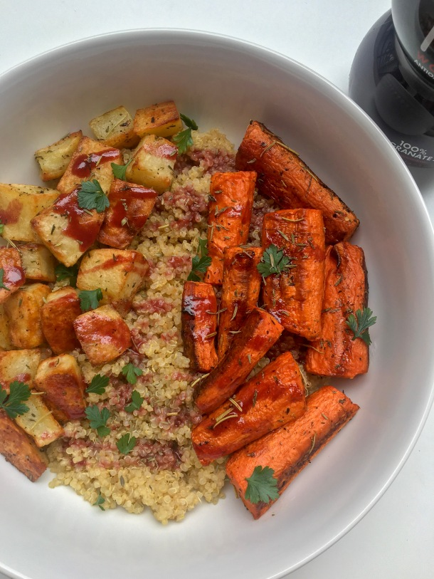 POM Roasted Vegetable Quinoa Bowl with Pomegranate Drizzle.JPG