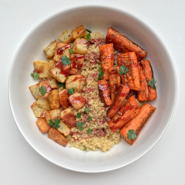 Roasted Vegetable Quinoa Bowl with Pomegranate Drizzle