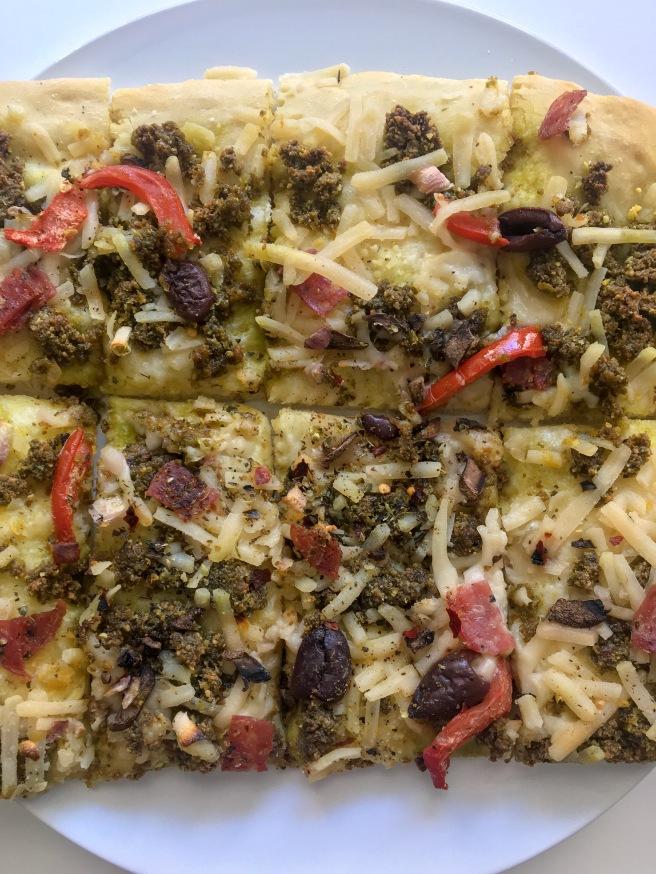 Pistachio Basil Pesto Pizza