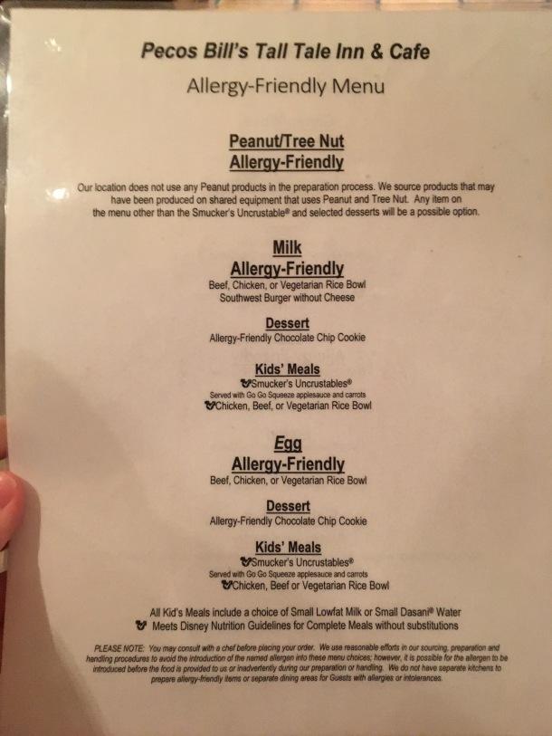 Peco Bill's Allergy Friendly Menu Disney World.jpeg