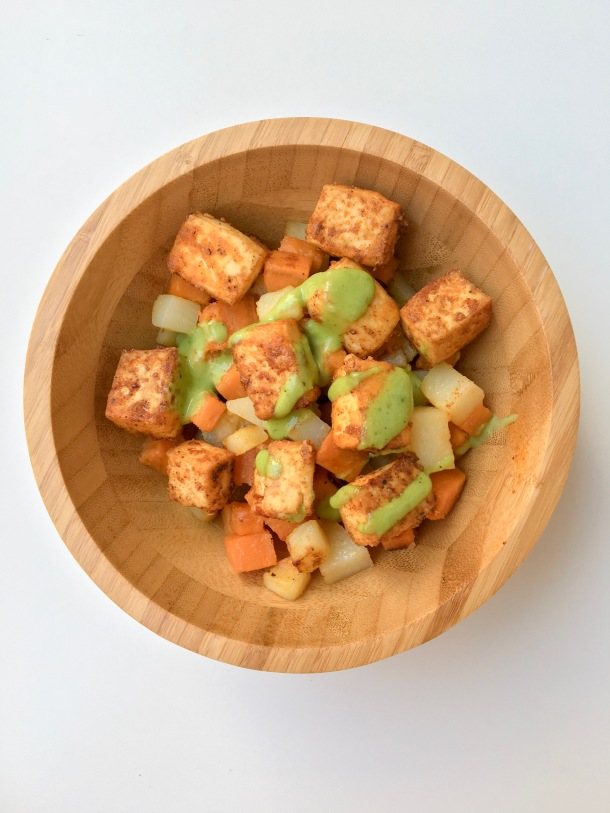 Chili-Spiced Crispy Fried Tofu Bowl with Charred Green Onion Vinaigrette Pandora Satu'li Canteen Copycat.JPG